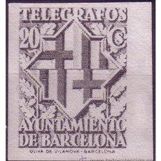Sellos: BARCELONA TELÉGRAFOS 1941 ESCUDO DE LA CIUDAD, EDIFIL Nº 14 (*). Lote 23348248