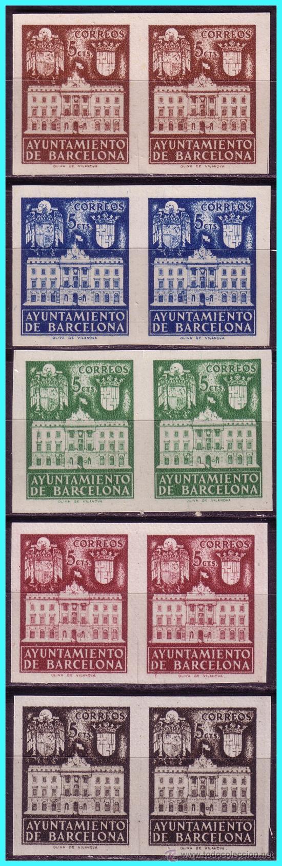 BARCELONA 1942 FACHADA DEL AYUNTAMIENTO B2 EDIFIL Nº 33S A 37S (*) (Sellos - España - Estado Español - De 1.936 a 1.949 - Nuevos)