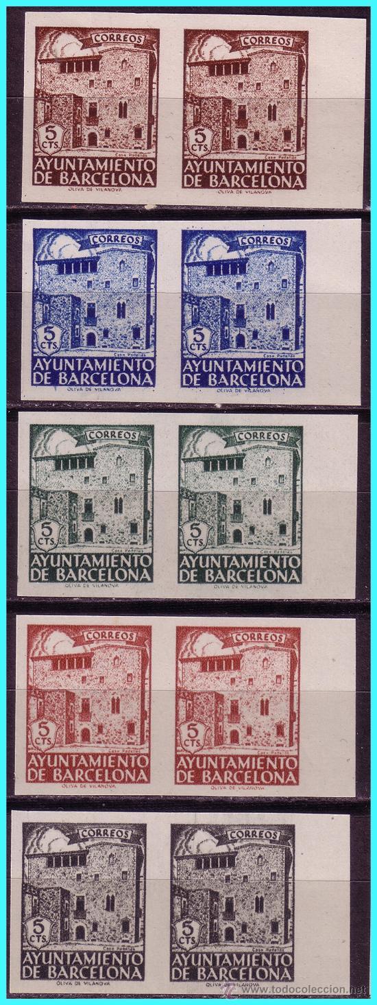 BARCELONA 1943 CASA PADELLÁS, B2 EDIFIL Nº 42S A 46S (*) (Sellos - España - Estado Español - De 1.936 a 1.949 - Nuevos)