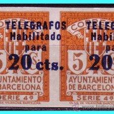 Sellos: BARCELONA TELÉGRAFOS 1937 HABILITADOS TIPO III, B2 EDIFIL Nº 11S * *. Lote 24700237