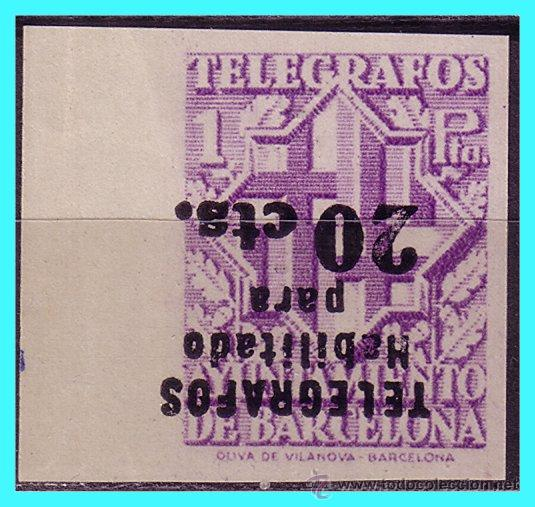 BARCELONA TELÉGRAFOS 1942 HABILITADOS TIPO III, EDIFIL Nº 19HIS (*) RARO (Sellos - España - Estado Español - De 1.936 a 1.949 - Nuevos)
