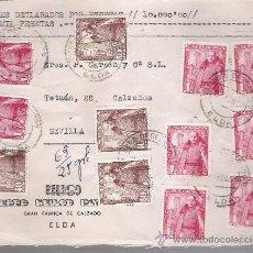 Sellos: FRONTAL DE CARTA CON MEMBRETE. DE ELDA A SEVILLA. FRANQUEADO CON 8 SELLOS 1032 Y 4 DEL 1027.. Lote 26703582