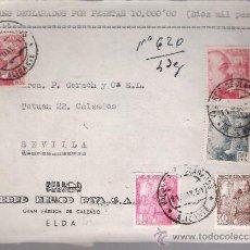Sellos: FRONTAL DE CARTA CON MEMBRETE. DE ELDA A SEVILLA. FRANQUEADO CON 2 SELLOS 1058,UNO 1053,UNO -. Lote 26707842