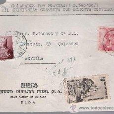 Sellos: FRANTAL DE CARTA CON MEMBRETE.DE ELDA A SEVILLA.VALORES DECLARADO. FRANQUEADO CON SELLOS 1094,. Lote 26744655