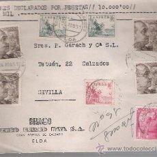 Sellos: FRONTAL DE CARTA CON MEMBRETE DE ELDA A SEVILLA.24 AGOS.1951. FRANQUEADO CON SELLOS;917,918(2),. Lote 26751696