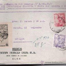 Sellos: CARTA CON MEMBRETE DE ELDA A SEVILLA.DE.1951. FRANQUEADO CON SELLOS 1047, 1059 Y -. Lote 26751782