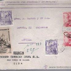 Sellos: FRONTAL DE CARTA CON MEMBRETE DE ELDA A SEVILLA.2 JUN.1951. FRANQUEADO CON SELLOS; 1030A (2) Y . Lote 26751898