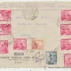 Sellos: FRONTAL DE CARTA CON MEMBRETE.DE 5 SEP. 1951. FRANQUEADO CON SELLOS 1032(8),872 (1) Y 1045 81). Lote 26776894