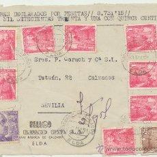 Sellos: FRONTAL DE CARTA CON MEMBRETE.DE 3 SEP. 1951. FRANQUEADO CON SELLOS 1032(8),1027 (1) Y 867 (1). Lote 26777095