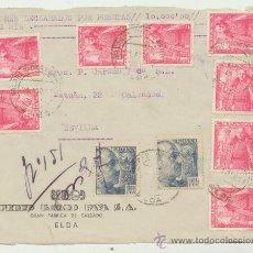 Sellos: FRONTAL DE CARTA CON MEMBRETE.DE 21 AGOS.1951. FRANQUEADO CON SELLOS 1032(8), Y 872 (2). Lote 26777193