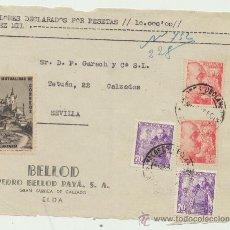 Sellos: FRONTAL DE CARTA CON MEMBRETE.DE ELDA A SEVILLA. FRANQUEADO SELLOS 933 (2) 1030 (2) Y MUTUALIDAD. Lote 26777451