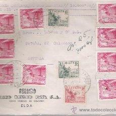 Sellos: FRONTAL DE CARTA CON MEMBRETE. DE ELDA A SEVILLA.DE 6 SEP.1951. FRANQUEADO CON 9 SELLOS 1032 ,. Lote 26803326