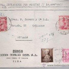 Sellos: FRONTAL DE CARTA CON MEMBRETE. DE ELDA A SEVILLA.DE 4 MAY.1951. FRANQUEADO CON 1 SELLO 1032 ,. Lote 26803478