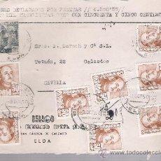Sellos: FRONTAL DE CARTA CON MEMBRETE. DE ELDA A SEVILLA.DE 9 DIC.1950. FRANQUEADO CON 8 SELLOS 1021 Y . Lote 26803640