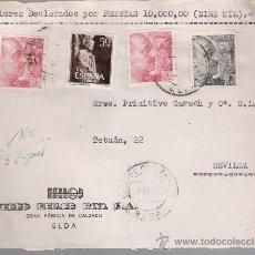Sellos: FRONTAL DE CARTA CON MEMBRETE. DE ELDA A SEVILLA 17-ABRIL-50. FRANQUEADO CON 2 SELLOS 1058,1 SE- . Lote 27402188