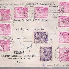 Sellos: FRONTAL DE CARTA CON MEMBRETE. DE ELDA A SEVILLA 25-MAYO-50. FRANQUEADO CON 9 SELLOS 1032 Y 2 . Lote 27402292