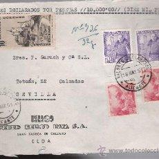 Sellos: FRONTAL DE CARTA CON MEMBRETE. DE ELDA A SEVILLA 18-MAYO-51. FRANQUEADO CON 2 SELLOS 1058,2 SE-. Lote 27402391