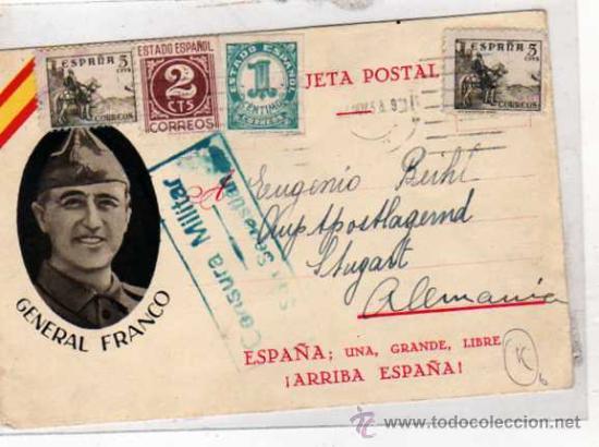 TARJETA POSTAL. GENERAL FRANCO. CENSURA MILILTAR SAN SEBASTIAN. ED. JUAN MARRA. MÁLAGA. (Sellos - España - Estado Español - De 1.936 a 1.949 - Cartas)