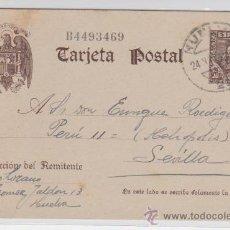 Sellos: TARJETA ENTERO POSTAL. DE HUELVA A SEVILLA DE 24 NOV. 1941. EDIFIL Nº 83.. Lote 28191080