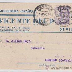 Sellos: TARJETA CON MEMBRETE.DE SEVILLA A ALMAGRO. FRANQUEADO CON SELLO 1047.. Lote 28191380