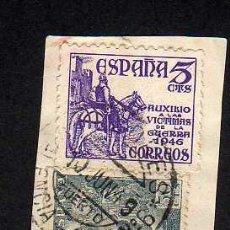 Sellos: ESPAÑA - MATASELLOS VALORES - VALENCIA SUC. N.6 PUERTO - 1949 SOBRE PEQUEÑO FRAGMENTO. Lote 28376510