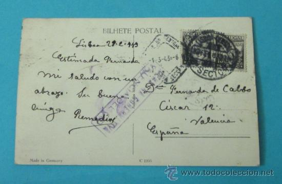 POSTAL CIRCULADA ENTRE LISBOA Y VALENCIA. 1943. CON CENSURA GUBERNATIVA. VALENCIA DEL CID (Sellos - España - Estado Español - De 1.936 a 1.949 - Cartas)