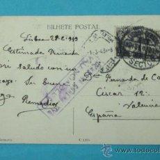 Sellos: POSTAL CIRCULADA ENTRE LISBOA Y VALENCIA. 1943. CON CENSURA GUBERNATIVA. VALENCIA DEL CID. Lote 29310996