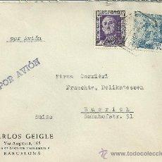Sellos: BARCELONA CC CON MAT HEXAGONAL CORREO AEREO 1949 SELLOS FRANCO. Lote 29584883
