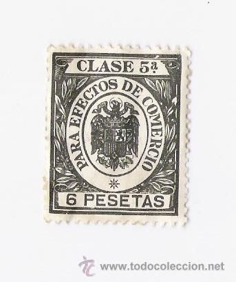 SELLO PARA EFECTOS DE COMERCIO CLASE 5ª 6 PTAS. (Sellos - España - Estado Español - De 1.936 a 1.949 - Usados)