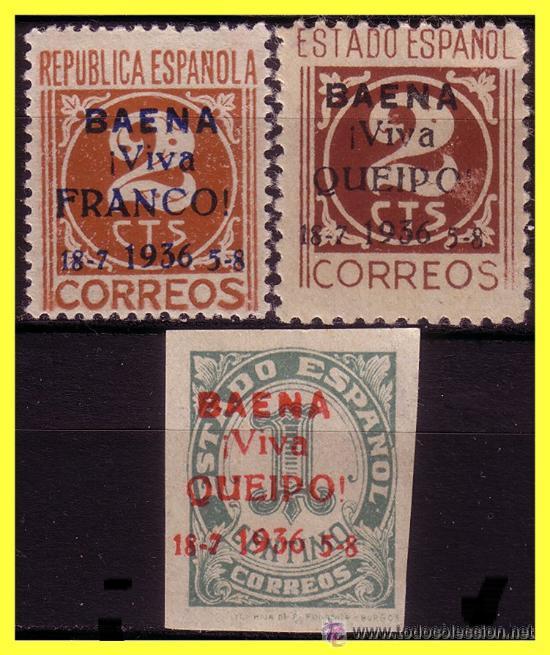 BAENA (CÓRDOBA). ELP BAENA 1937 SELLOS NACIONALES Y REPUBLICANOS. EDIFIL Nº 1 A 3 * / (*), NUEVOS. (Sellos - España - Estado Español - De 1.936 a 1.949 - Nuevos)
