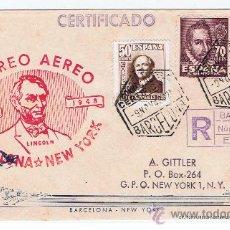 Sellos: CERTIFICADO 1948 ENTRE BARCELONA I NEW IORK. Lote 30102082
