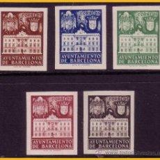 Sellos: BARCELONA 1942 FACHADA DEL AYUNTAMIENTO, EDIFIL Nº 33S A 37S (*). Lote 30337417