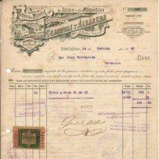 Sellos: 1940 BARCELONA FACTURA CON SELLO FISCAL SERVICIOS PROVINCIALES ABASTECIMIENTO Y TRANSPORTE. Lote 31161643