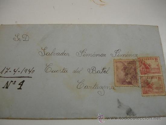CARTA CON SELLOS (Sellos - España - Estado Español - De 1.936 a 1.949 - Usados)