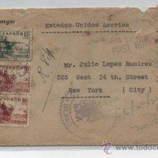 Sellos: CARTA DE BILBAO A NEW YORK DEL 20 JUN. 1939. CON CENSURA MILITAR DE BILBAO Y LLEGADA . Lote 31199516