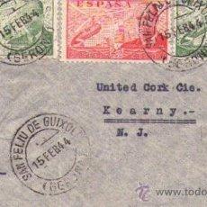 Sellos: CENSURA MILITAR GUBERNATIVA BARCELONA Y EXAMINER DOBLE CENSURA, 1944, PAREJA EDIFIL 945 Y 941 1062 . Lote 32122210