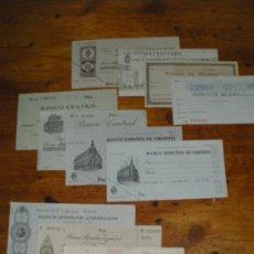 Sellos: COLECCION DE PAGOS FISCALES, CHEQUES BANCARIOS. BANCO CENTRAL, ESPAÑOL, IBERICO.. Lote 32412152