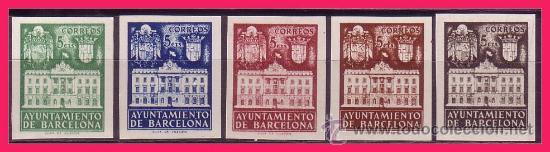 BARCELONA 1942 FACHADA DEL AYUNTAMIENTO, EDIFIL Nº 33S A 37S (*) (Sellos - España - Estado Español - De 1.936 a 1.949 - Nuevos)