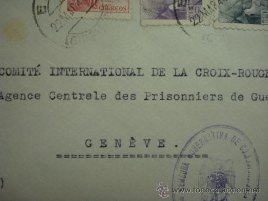 Sellos: COMITE INTERNACIONAL DE LA CRUZ ROJA - RARA CARTA CON CENSURA SAN SEBASTIAN - Foto 3 - 33960261
