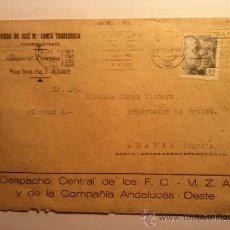Sellos: SOBRE FERROCARRILES MZA Y COMPAÑIA ANDALUCES OESTE ALICANTE 1941. Lote 34691123