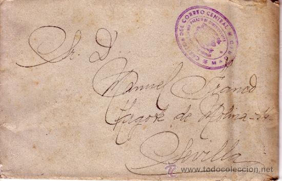 CARTA CIRCULADA MADRID SEVILLA CON FRANQUICIA CARTERIA DEL CORREO CENTRAL - REV. SELLO MUTUALIDAD (Sellos - España - Estado Español - De 1.936 a 1.949 - Cartas)