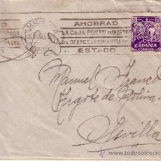 Sellos: CARTA CIRCULADA MADRID SEVILLA CON MATASELLOS RODILLO CAJA POSTAL SELLO PROTUBERCULOSOS . Lote 34707651