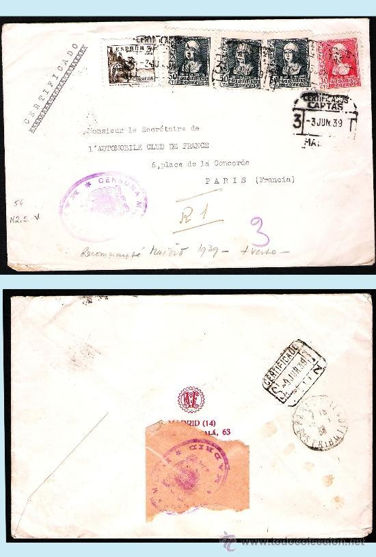 1939. CARTA TRICOLOR CERTIFICADA DE MADRID A PARÍS Y ETIQUETA DE CENSURA EN REVERSO. (Sellos - España - Estado Español - De 1.936 a 1.949 - Cartas)