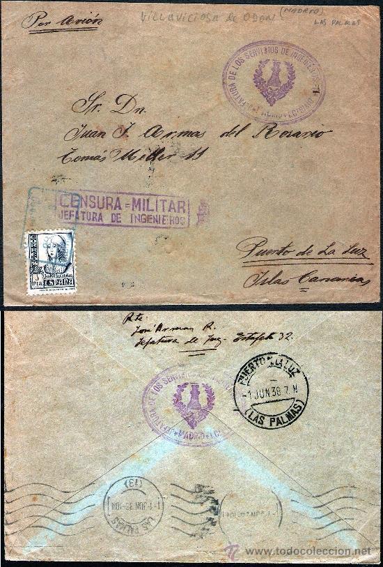 1938.-CERTIFICADO POR AVION EN COLOR AZUL DE VILLAVICIOSA DE ODON (MADRID) A PTO. DE LA LUZ CANARIAS (Sellos - España - Estado Español - De 1.936 a 1.949 - Cartas)
