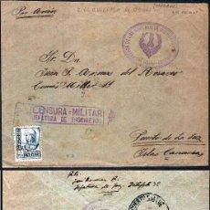 Sellos: 1938.-CERTIFICADO POR AVION EN COLOR AZUL DE VILLAVICIOSA DE ODON (MADRID) A PTO. DE LA LUZ CANARIAS. Lote 35445422