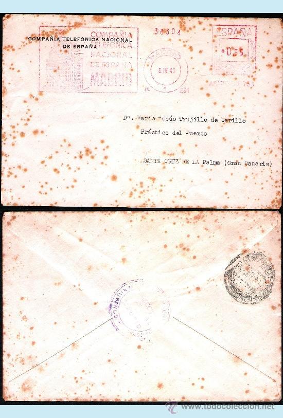 1949.- CARTA CON FRANQUEO MECANICO PUBLICITARIO DE TELEFONICA DE MADRID A STA. CRUZ DE LA PALMA. (Sellos - España - Estado Español - De 1.936 a 1.949 - Cartas)