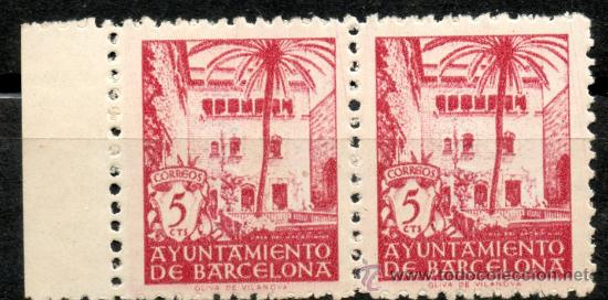 60 / NUEVOS / BLOQUE DE DOS / 5 CTS CARMÍN VINOSO / CASA DEL ARCEDIANO / AYUNTAMIENTO DE BARCELONA. (Sellos - España - Estado Español - De 1.936 a 1.949 - Nuevos)
