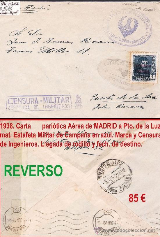 1939.-CARTA CON 1 SELLO DE FERNANDO AVION DE MADRID A PTO. DE LA LUZ. MARCAS JEFATURA DE INGENIEROS (Sellos - España - Estado Español - De 1.936 a 1.949 - Cartas)