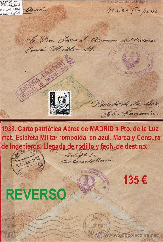 1938.-CARTA CON 1 SELLO DE ISABEL, AVION DE MADRID A PTO. DE LA LUZ. MARCAS JEFATURA DE INGENIEROS (Sellos - España - Estado Español - De 1.936 a 1.949 - Cartas)