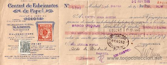 MADRID. 1946. LETRA DE CAMBIO PUBLICITARIA REINTEGRADA CON SELLO FISCAL. MAGNÍFICA. (Sellos - España - Estado Español - De 1.936 a 1.949 - Cartas)